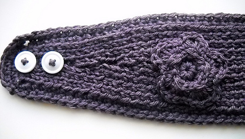 Ravelry Knit Headband Tapered With Crochet Edge And Flower Pattern