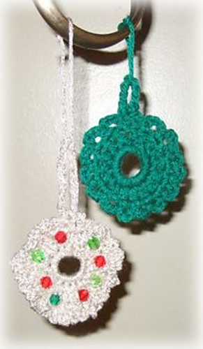 Ravelry Crocheted Christmas Wreath Ornaments Pattern By Jane Lake
