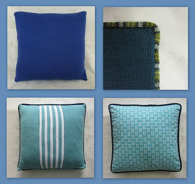 ravelry cushion covers with fabric or knitted piping pattern by ali hamilton