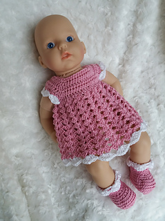 Ravelry: Baby Annabell dress & booties pattern by linda Mary