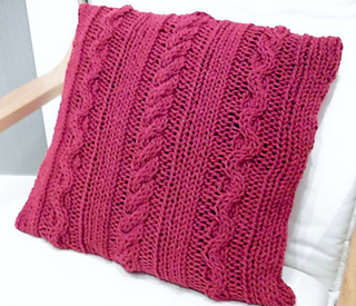ravelry chunky cable cushion cover pattern by loops and lavender knits