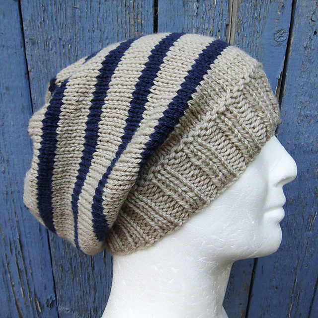 8ef53a80f21 Ravelry  CAMPUS Striped Slouchy Beanie Knit Round pattern by Made on ...