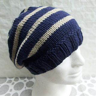Ravelry Campus Striped Slouch Hat Knit Straight Pattern