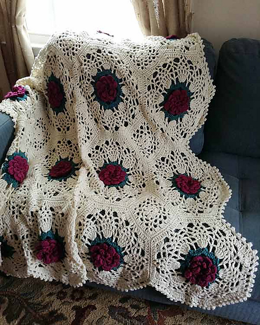 Ravelry pineapple rose afghan pattern by maggie weldon dt1010fo