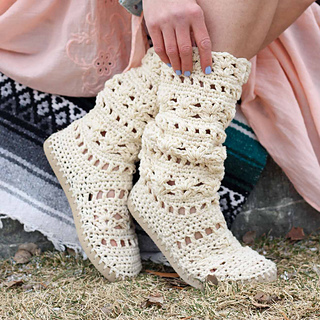 79aded5fec8 Ravelry  Coachella Boots with Flip Flop Soles pattern by Jess Coppom