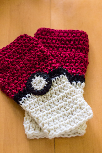 Ravelry Pokeball Fingerless Gloves Pattern By Mary Dickerson