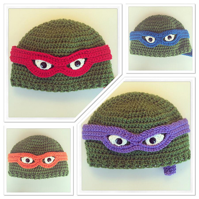 Ravelry Teenage Mutant Ninja Turtle Crochet Beanie Pattern By