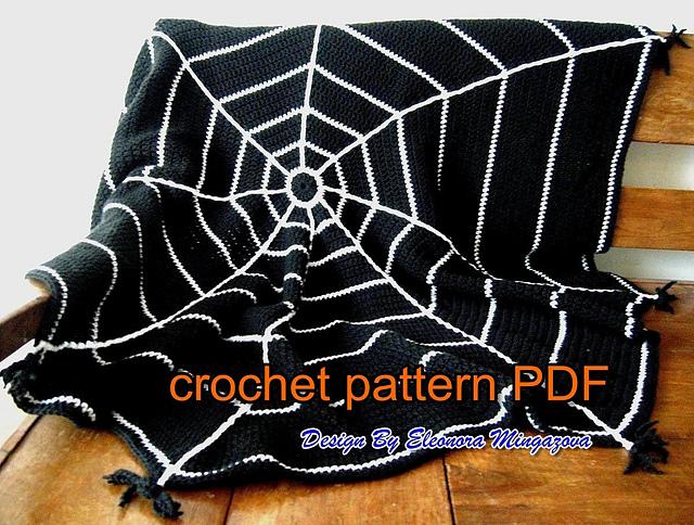 Ravelry Halloween Spider Web Crochet Blanket Throw Pattern By