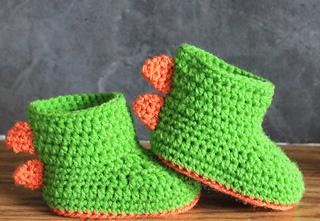 1eba310541f01 Ravelry: Dinosaur Baby Booties RAWR pattern by Jinty Lyons