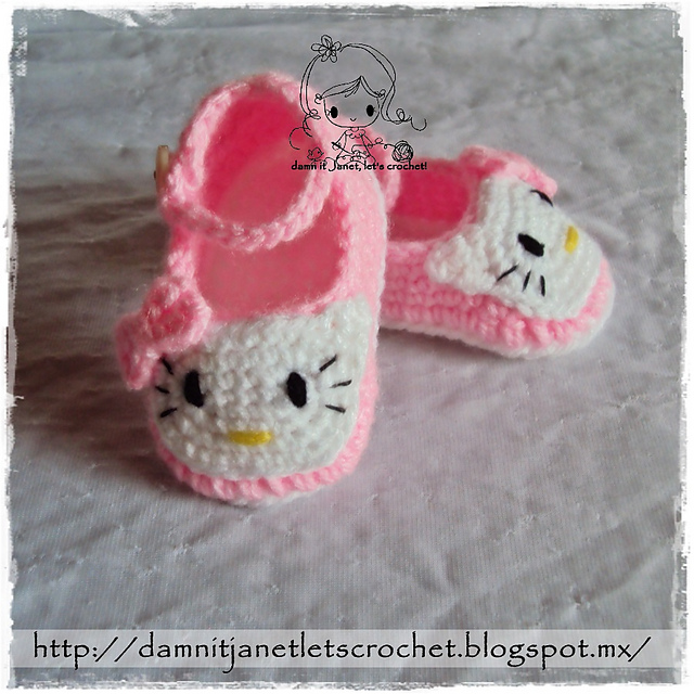 Ravelry Hello Kitty Baby Booties Newborn 12 Months Pattern By