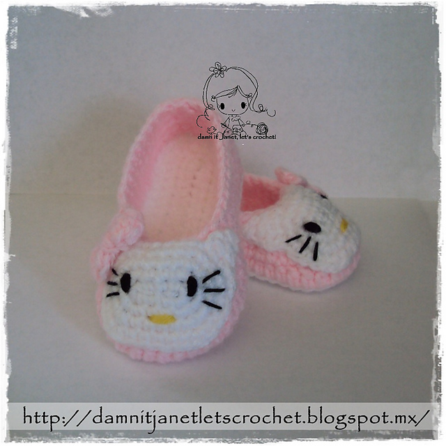 57d1b50ba patterns > damn it Janet, let's crochet! > Hello Kitty Toddler Slippers ...