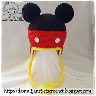 Ravelry  Mickey Mouse Earflap Beanie pattern by Janet Carrillo 183cde5ad0a