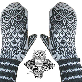 Free Knitting Pattern Doll Mittens : Ravelry: Nattugla/ Night Owl Mittens pattern by Jorid Linvik