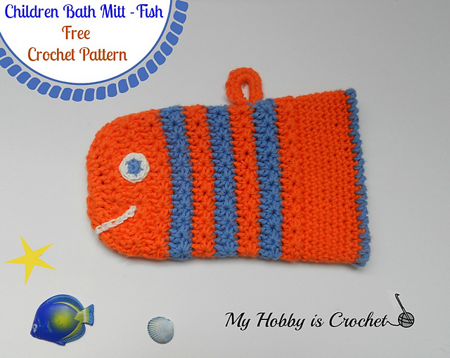 Ravelry Crochet Fish Bath Mitt With Star Stitch Pattern By Kinga