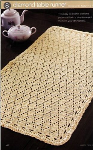 Ravelry Diamond Table Runner Pattern By Nazanin S Fard