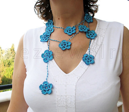 Ravelry Beaded Crochet Flower Lariat Necklace Scarf Pattern By
