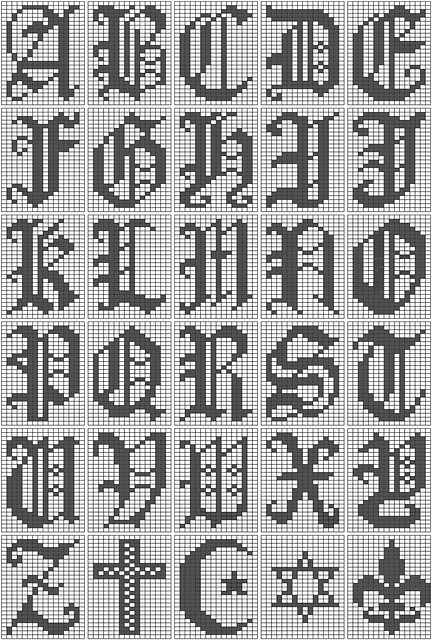 Ravelry Filet Crochet Alphabet Script Chart Pattern By Leah Spell