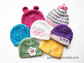 Ravelry  7 Newborn Girly Hats pattern by Maria Bittner d0a1d3fb972
