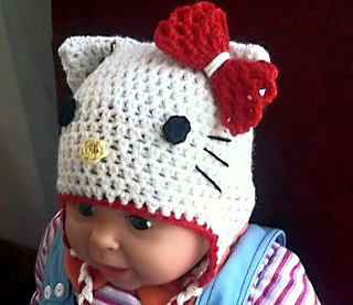 Hello Kitty Hat Easy Crochet Pattern All Sizes Pattern By Ravelry