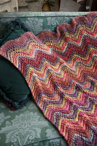 18 Feather And Fan Lace Blanket Pdf At Fiberwild Knitting
