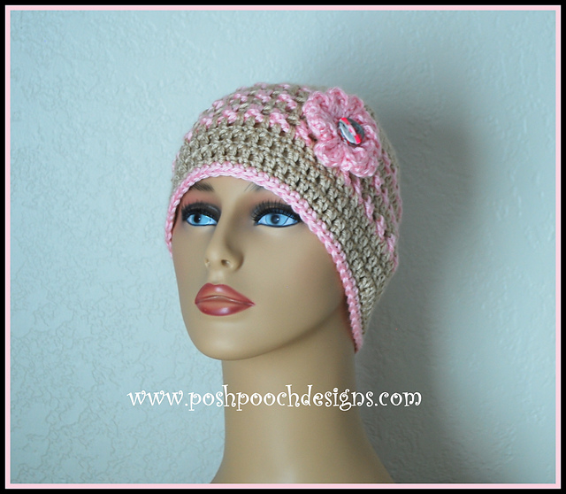 patterns   Posh Pooch Designs Website.   Ann s Pink Ribbon Chemo Beanie  Breast Cancer 0dc3afde1df