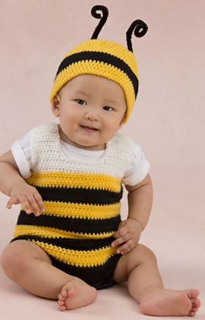 Ravelry  Little Baby Bee Playsuit and Hat pattern by Julie Farmer 17bd46d1bcd5