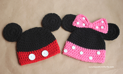 Ravelry Mickey And Minnie Mouse Hats Pattern By Sarah Zimmerman
