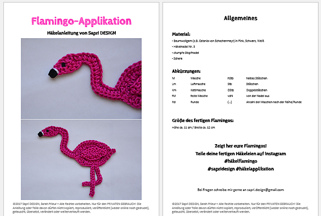 Ravelry Flamingo Applikation Pattern By Sapri
