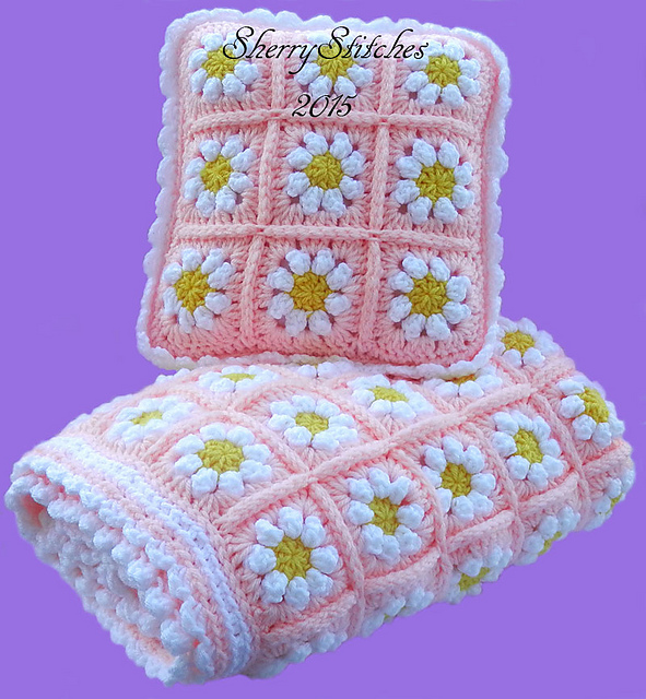 Ravelry Princess Daisys Flower Blanket Pattern By Sherry L Farley