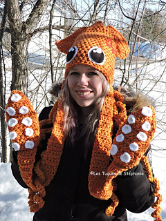 e2aa29518 Squid hat mittens tentacle octopus pattern by Les Tuques De Stephanie