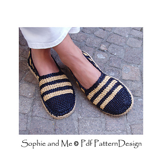 6e5c3668f62f61 Ravelry  Black   Tan Espadrilles pattern by Sophie and Me-Ingunn Santini