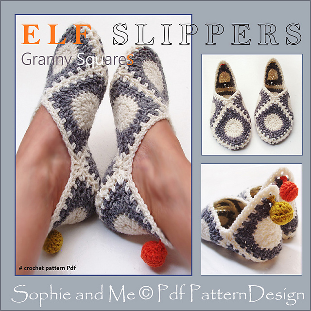 aa4131c3bb5 Ravelry  Granny Square Elf Slippers pattern by Sophie and Me-Ingunn ...