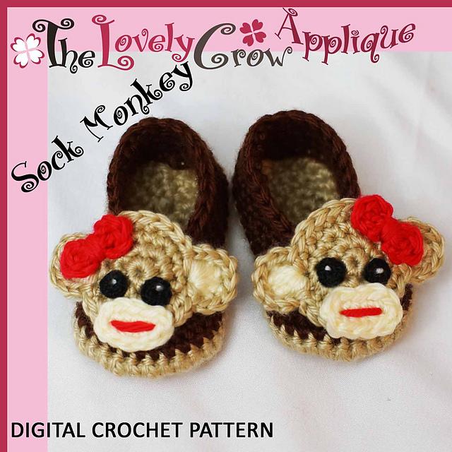 Ravelry Applique Sock Monkey Booties Pattern By Elizabeth Alan