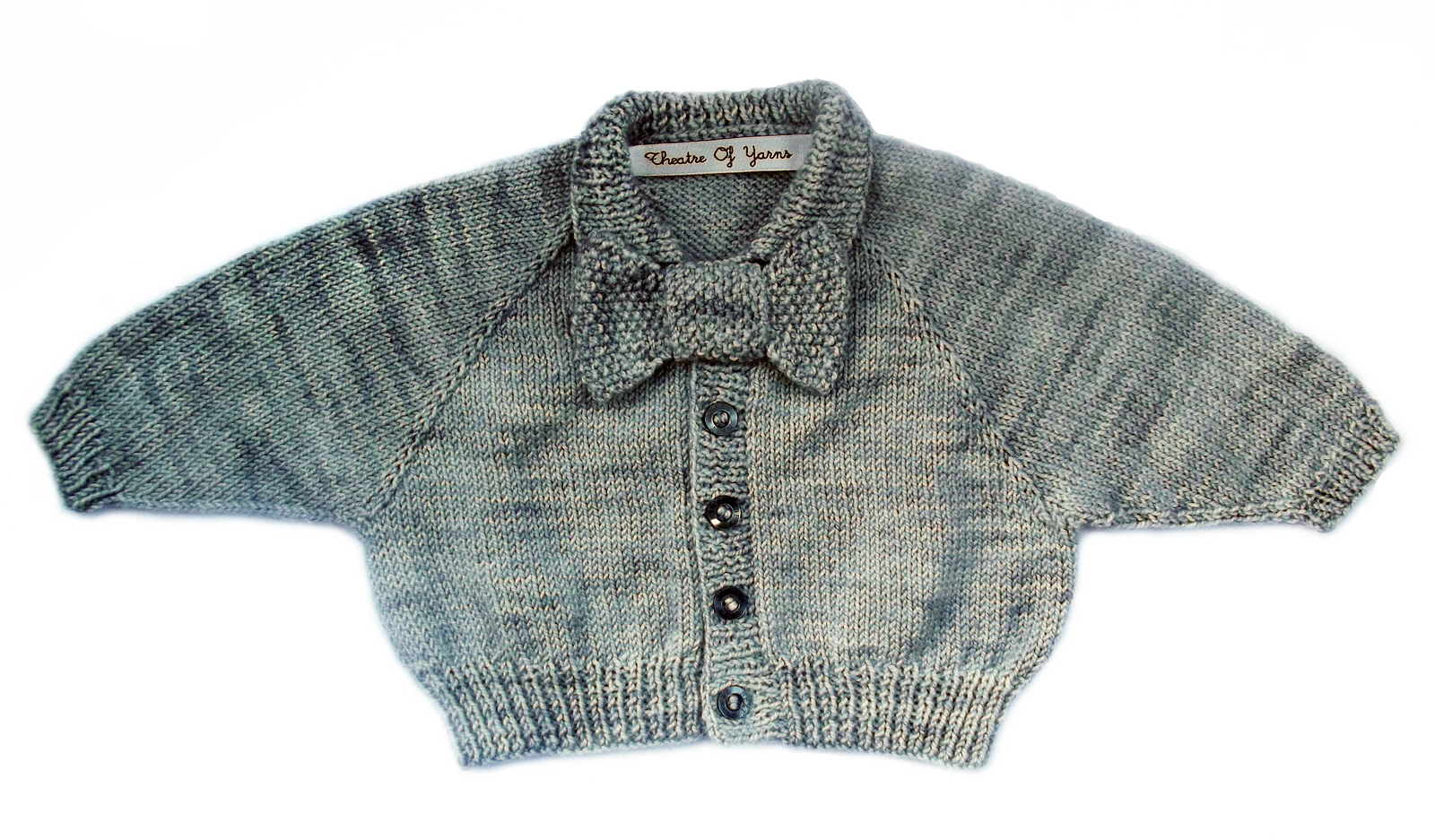 Bow tie baby cardigan knitting pattern