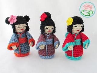 Amigurumi Kokeshi Doll Pattern : Ravelry: amigurumi mini kokeshi japanese doll pattern by tamara