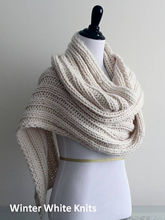 Ravelry Winter White Ribbed Knit Scarf Shawl Pattern By Winter