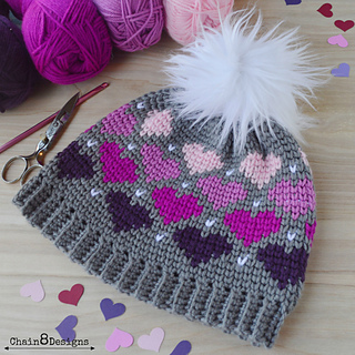 Ravelry  Twitterpated Heart Beanie pattern by Jennifer Lynn 7e28f318157