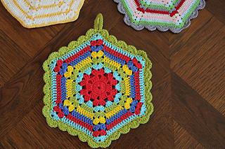 Ravelry Vintage Crochet Climbing Trellis Hexagon Potholder Pattern