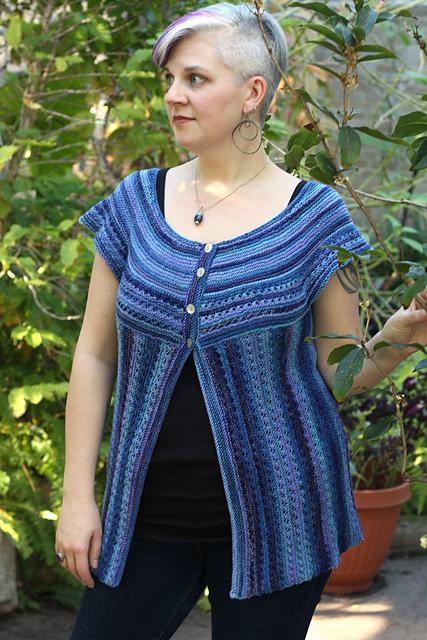 Striped textured cardigan