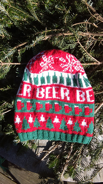 ravelry ugly christmas beer hat pattern by knitting for sanity - Ugly Christmas Hats