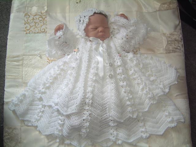 Ravelry Daisy Chain Christening Gown Set Pattern By Karen Ashton Mills