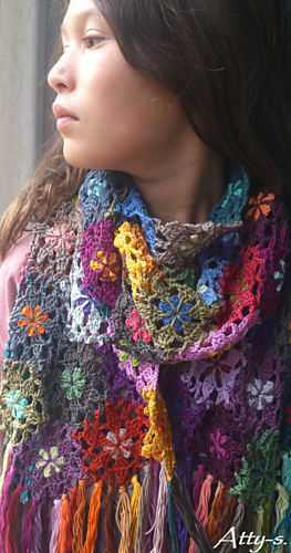 Ravelry Crochet Flower Scarf Made With Leftovers Pattern By Atty