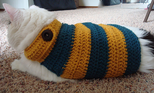 Ravelry Huskaroo Banded Kitty Sweater Pattern By Abby Stewart