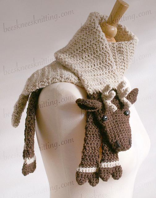Ravelry: Reindeer Scarf Crochet Pattern pattern by Bees Knees Knitting