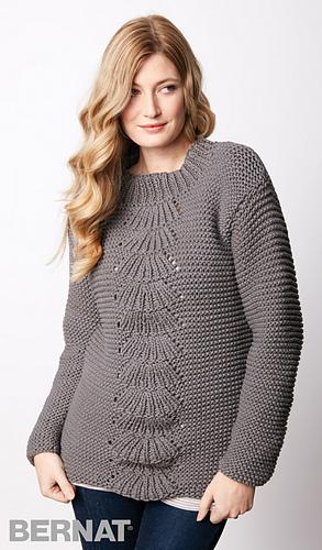 Ravelry Center Fan Knit Pullover Pattern By Bernat Design Studio