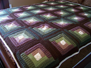 Ravelry Autumn Log Cabin Throw Pattern By Red Heart