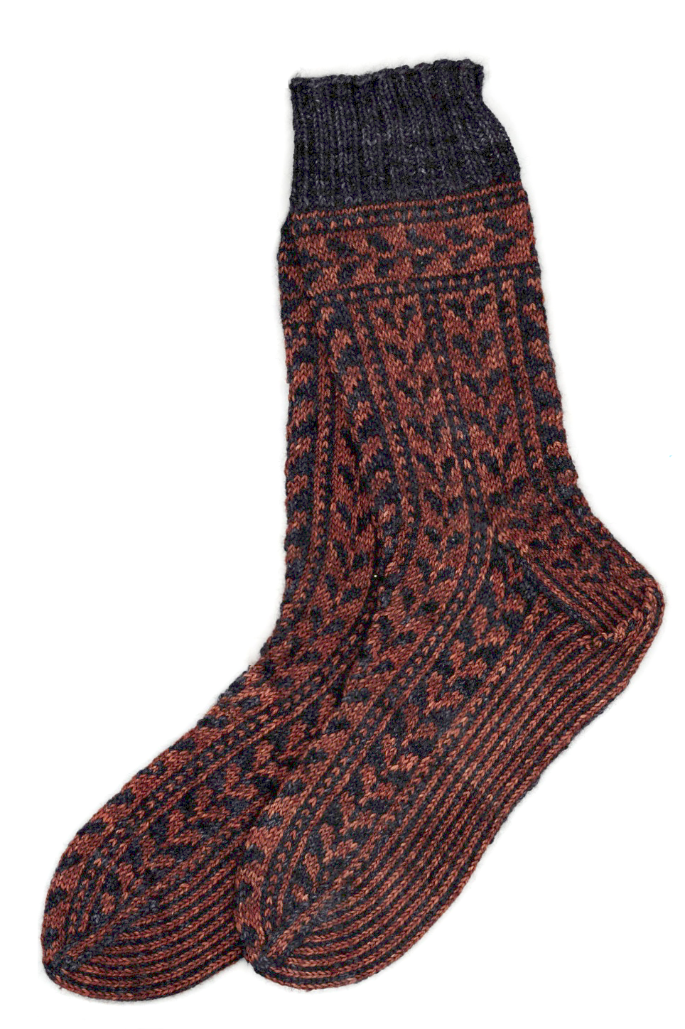 Socks of black and brown yarn, with a leaf pattern