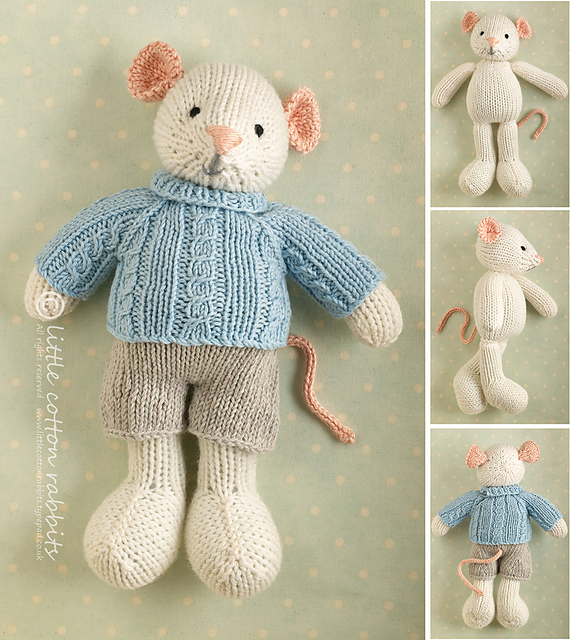 Ravelry Boy Mouse In A Cabled Sweater Pattern By Julie Williams