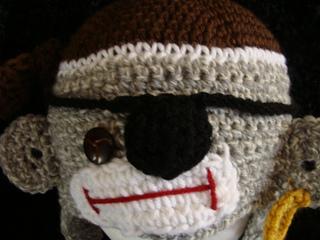 5159d97e45d Ravelry  542 Pirate Sock Monkey Hat Infants to Adults pattern by Sandy  Powers