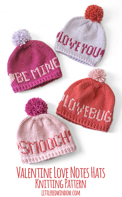 22c4b1d46 Valentine Love Notes Hats pattern by Cassandra May